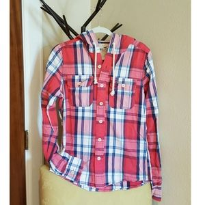 Hollister plaid hooded red shirt